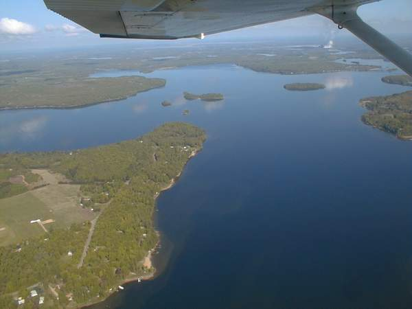 Aerial View of Itasca Including a Large Body of Water and Several Small Islands